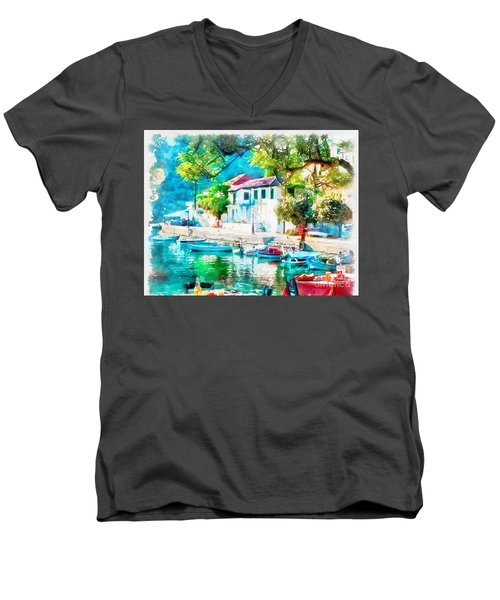 Coastal Cafe Greece Men's V-Neck T-Shirt