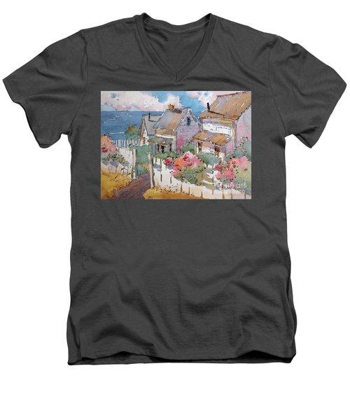 Coastal Cottages Men's V-Neck T-Shirt