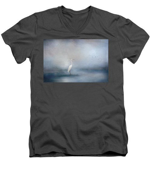 Coastal Egret Men's V-Neck T-Shirt
