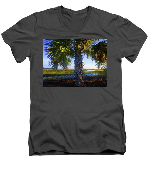 Coastal High Tide  Men's V-Neck T-Shirt by Laura Ragland