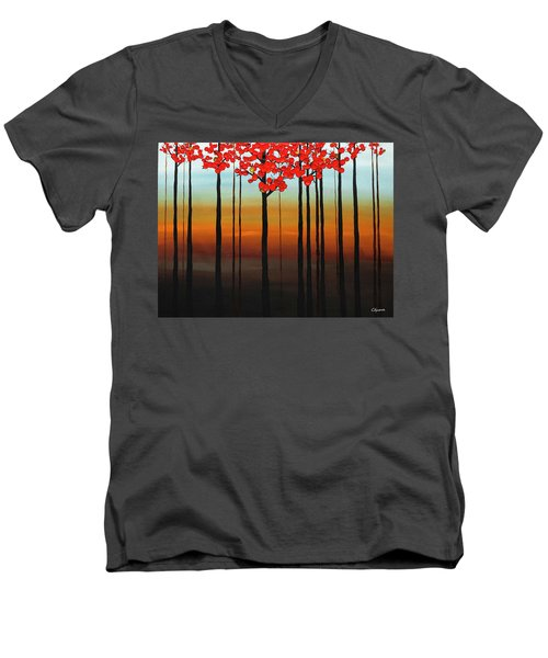 Men's V-Neck T-Shirt featuring the painting Coastal Radiance by Carmen Guedez