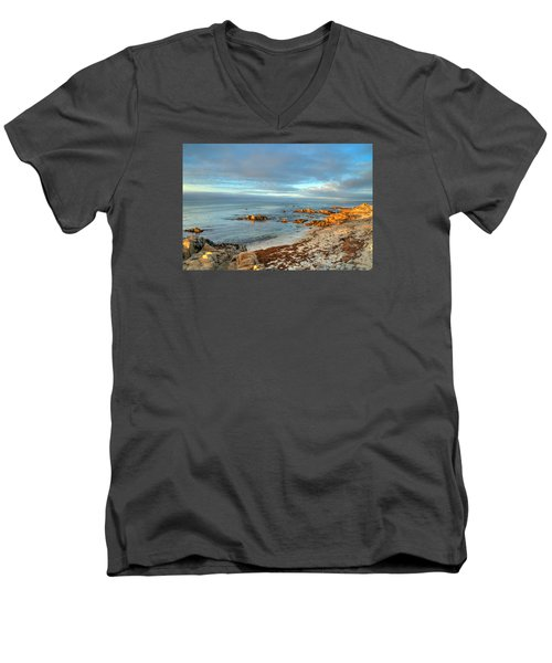 Coastal Sunset Men's V-Neck T-Shirt by Derek Dean