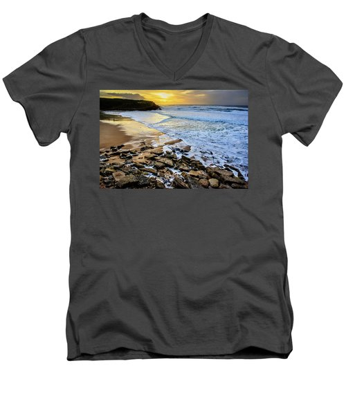 Men's V-Neck T-Shirt featuring the photograph Coastal Sunset by Marion McCristall