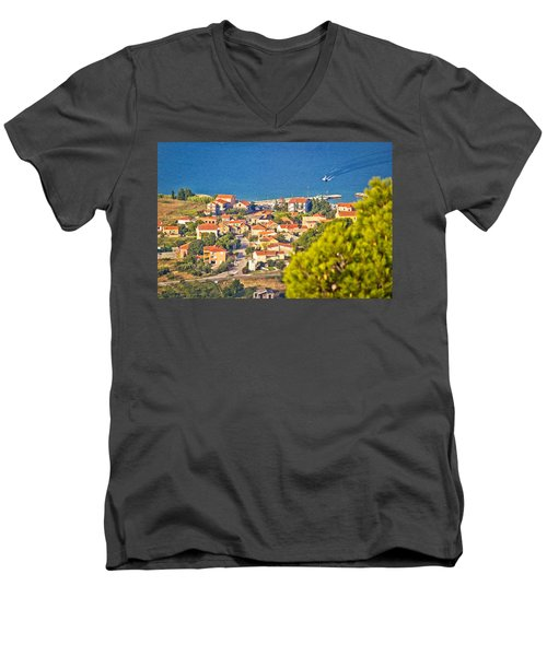 Coastal Village On Island Of Pasman Men's V-Neck T-Shirt