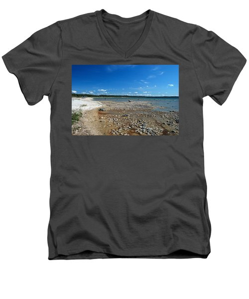 Men's V-Neck T-Shirt featuring the photograph Coastline Of Lake Michigan  Near Petoskey State Park - Little Traverse Bay by Janice Adomeit