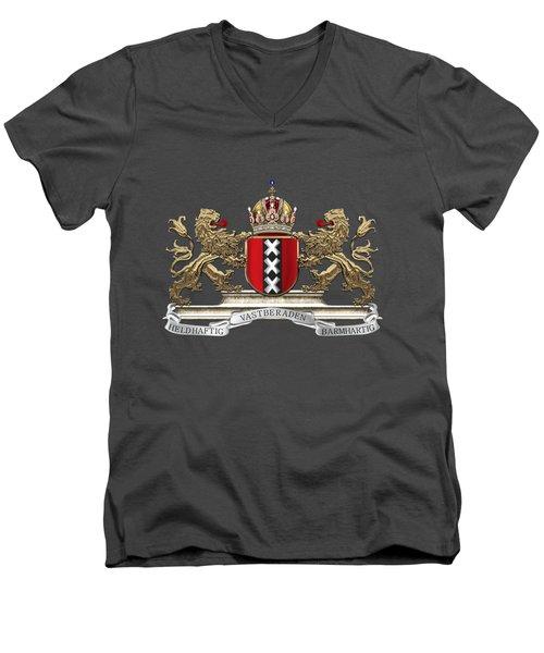 Coat Of Arms Of Amsterdam Over Red Velvet Men's V-Neck T-Shirt