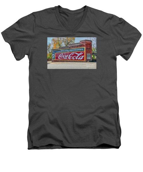 Coca-cola Retro Men's V-Neck T-Shirt by Marion Johnson