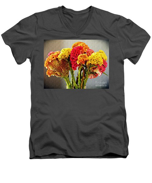 Men's V-Neck T-Shirt featuring the photograph Cockscomb Bouquet 3 by Sarah Loft
