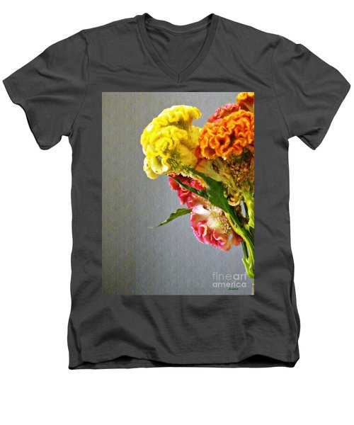 Men's V-Neck T-Shirt featuring the photograph Cockscomb Bouquet 4 by Sarah Loft