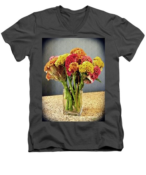 Men's V-Neck T-Shirt featuring the photograph Cockscomb Bouquet by Sarah Loft