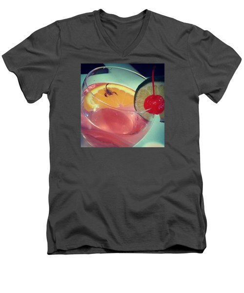 Cocktail With A Bite Men's V-Neck T-Shirt by Sacha Kinser