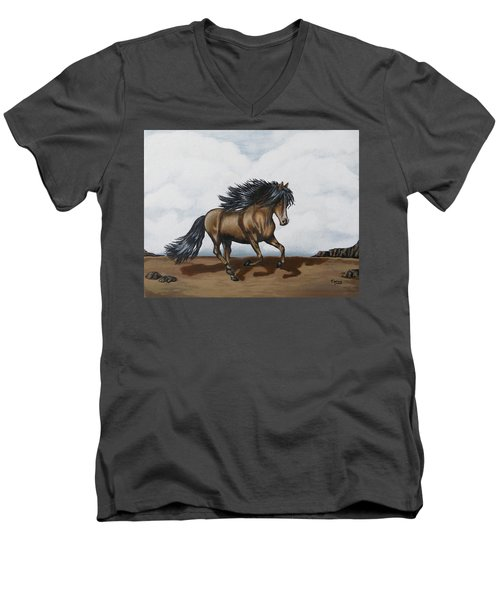 Men's V-Neck T-Shirt featuring the painting Coco by Teresa Wing