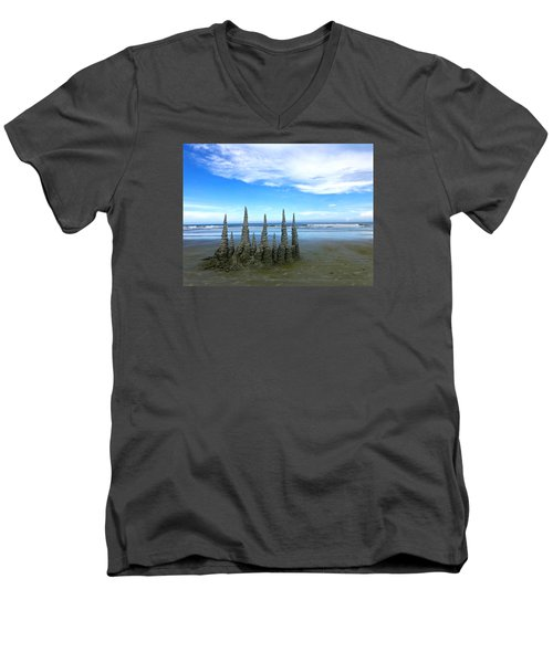 Cocoa Beach Sandcastles Men's V-Neck T-Shirt by Amelia Racca
