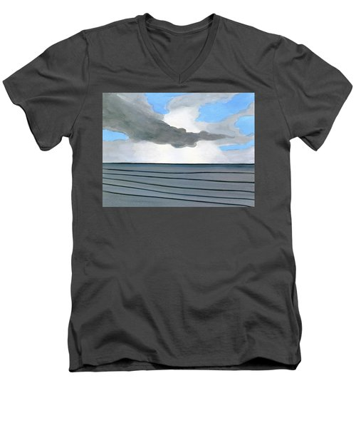 Men's V-Neck T-Shirt featuring the painting Cocoa Beach Sunrise 2016 by Dick Sauer