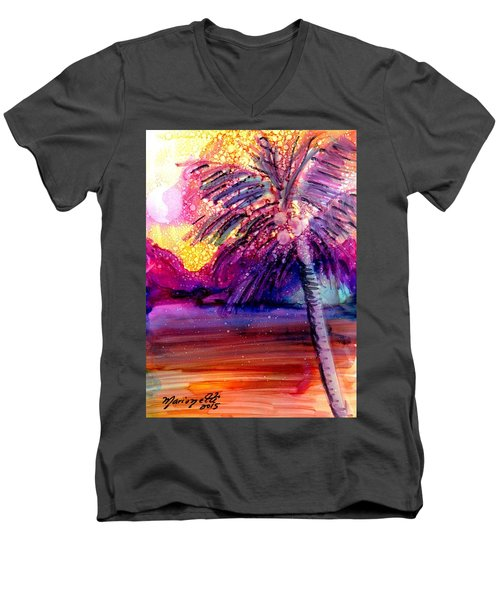 Men's V-Neck T-Shirt featuring the painting Coconut Palm Tree 2 by Marionette Taboniar