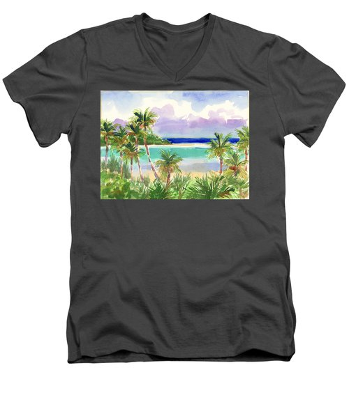 Coconut Palms And Lagoon, Aitutaki Men's V-Neck T-Shirt