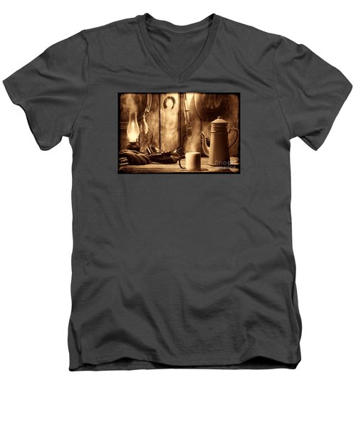 Coffee At The Cabin Men's V-Neck T-Shirt by American West Legend By Olivier Le Queinec