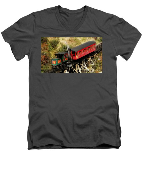 Cog Railway Vintage Men's V-Neck T-Shirt
