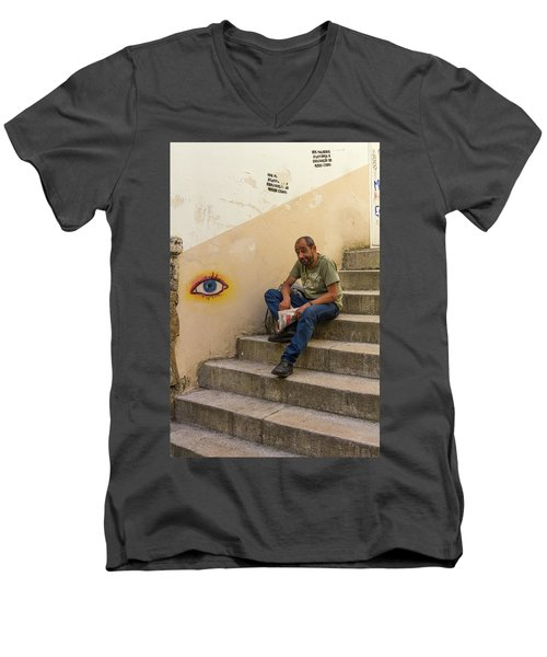 Men's V-Neck T-Shirt featuring the photograph Coimbra  Local  by Patricia Schaefer