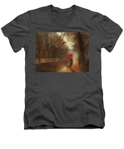 Cold Autumn Morning Painting Men's V-Neck T-Shirt