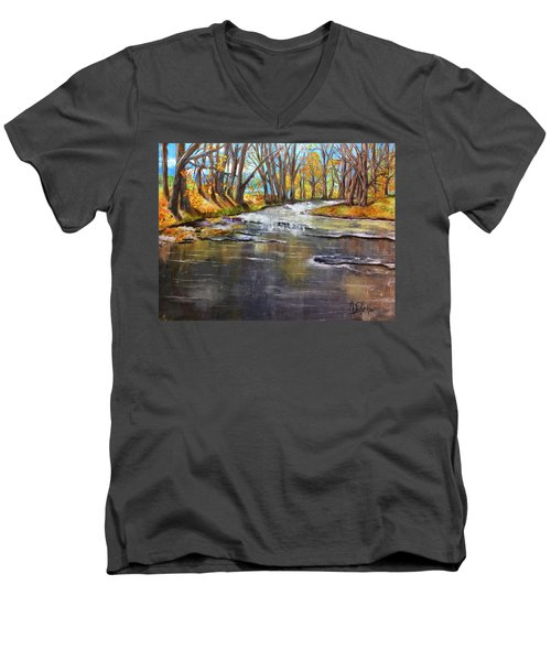 Men's V-Neck T-Shirt featuring the painting Cold Day At The Creek by Annamarie Sidella-Felts