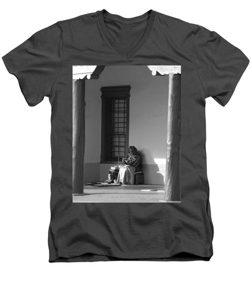 Men's V-Neck T-Shirt featuring the photograph Cold Native American Woman by Rob Hans
