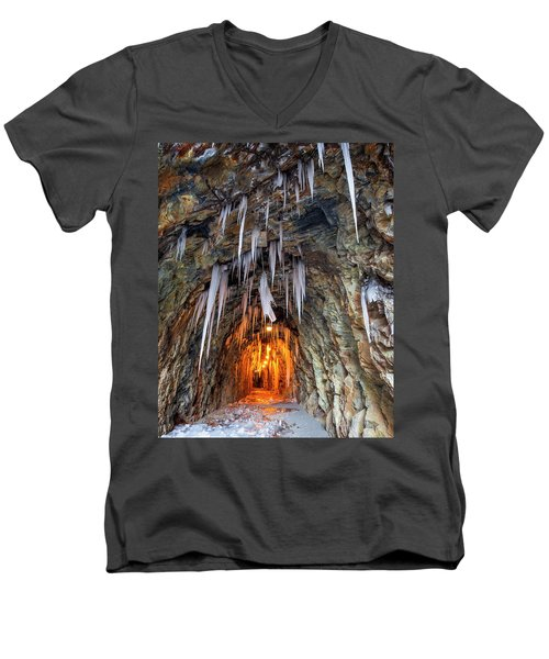 Men's V-Neck T-Shirt featuring the photograph Cold Passage by Alan Raasch