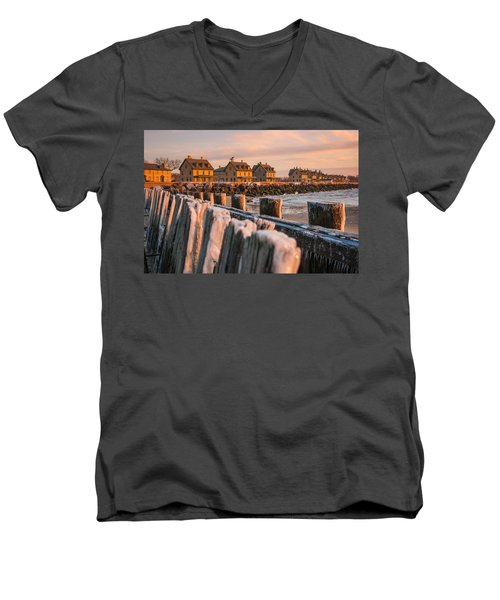 Men's V-Neck T-Shirt featuring the photograph Cold Row by Kristopher Schoenleber