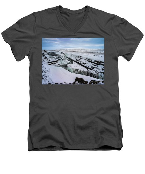 Cold Winter Day At Gullfoss, Iceland Men's V-Neck T-Shirt