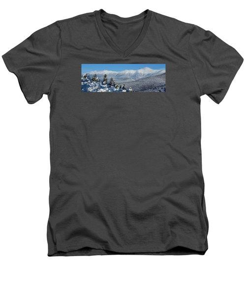 Cold Winter Day On Haystack Nubble Men's V-Neck T-Shirt