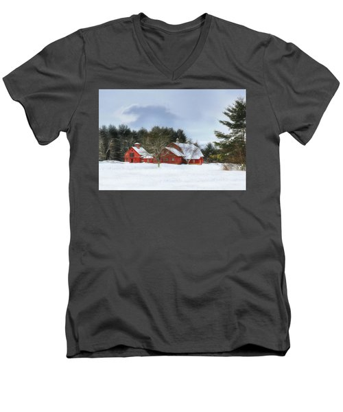 Cold Winter Days In Vermont Men's V-Neck T-Shirt by Sharon Batdorf