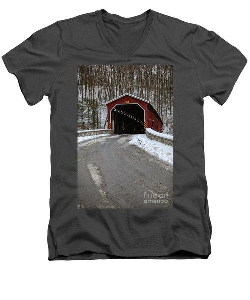 Colemansville Covered Bridge After Winter Snow Men's V-Neck T-Shirt