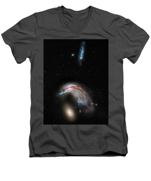 Men's V-Neck T-Shirt featuring the photograph Colliding Galaxy by Marco Oliveira