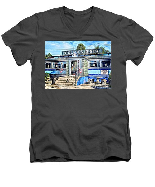Collin's Diner New Canaan,conn Men's V-Neck T-Shirt