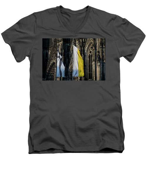 Cologne Cathedral Flags Men's V-Neck T-Shirt