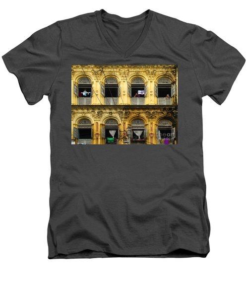 Colonial Facade Bo Soon Pat Street 8th Ward Central Yangon Burma Men's V-Neck T-Shirt