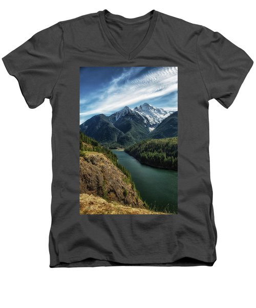 Colonial Peak Towers Over Diablo Lake Men's V-Neck T-Shirt