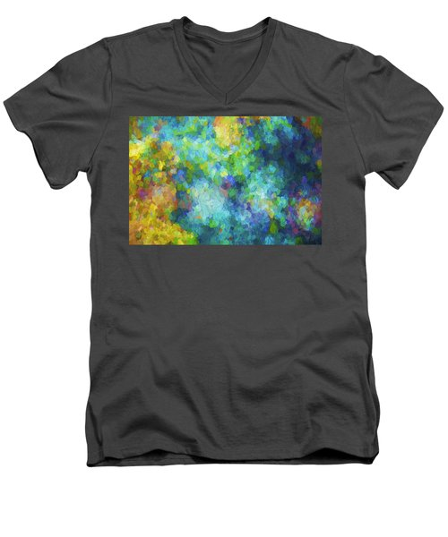 Color Abstraction Xliv Men's V-Neck T-Shirt by David Gordon