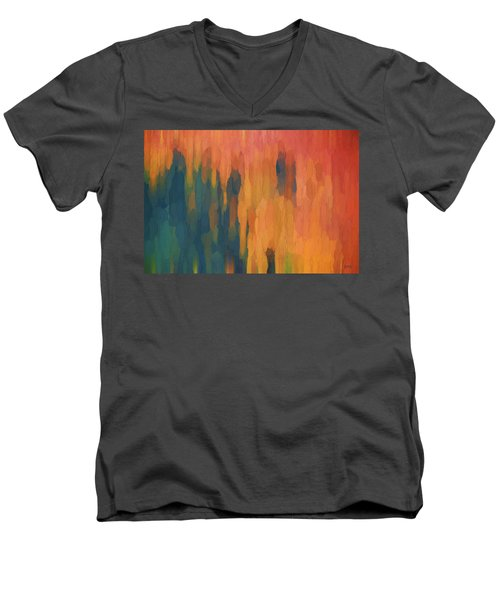 Color Abstraction Xlix Men's V-Neck T-Shirt by David Gordon