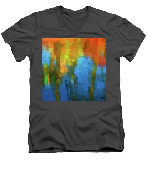 Men's V-Neck T-Shirt featuring the digital art Color Abstraction Xxxi by David Gordon
