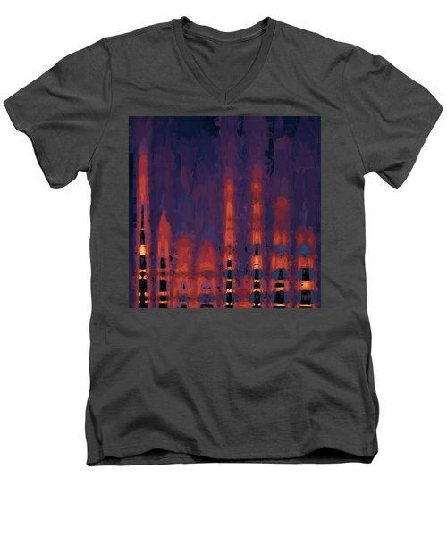 Color Abstraction Xxxviii Men's V-Neck T-Shirt by Dave Gordon