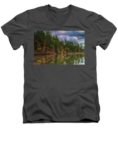 Men's V-Neck T-Shirt featuring the photograph Color At Songo Pond by Tim Kathka