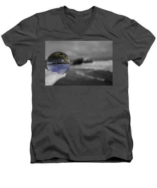Men's V-Neck T-Shirt featuring the photograph Color Ball by Lora Lee Chapman