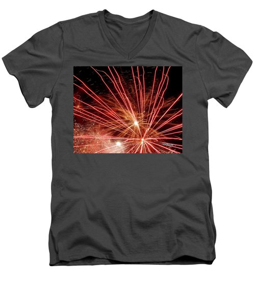 Men's V-Neck T-Shirt featuring the photograph Color Blast Fireworks #0731 by Barbara Tristan