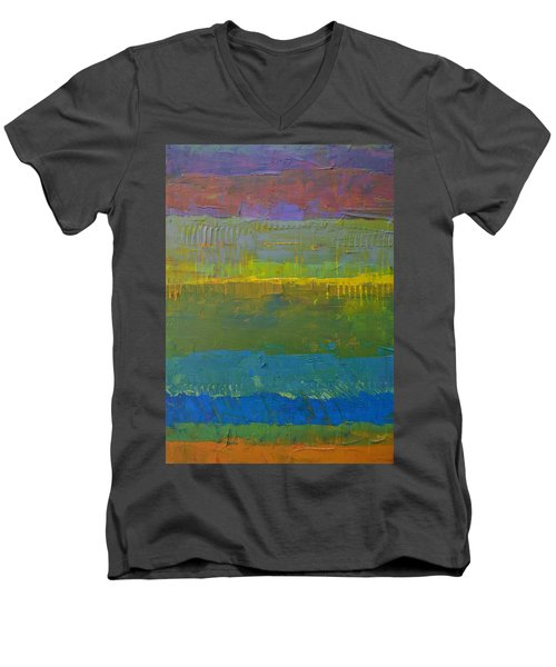 Men's V-Neck T-Shirt featuring the painting Color Collage Five by Michelle Calkins