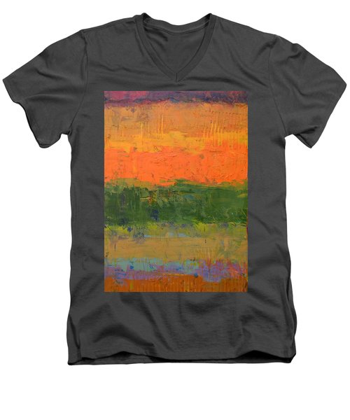 Men's V-Neck T-Shirt featuring the painting Color Collage Four by Michelle Calkins