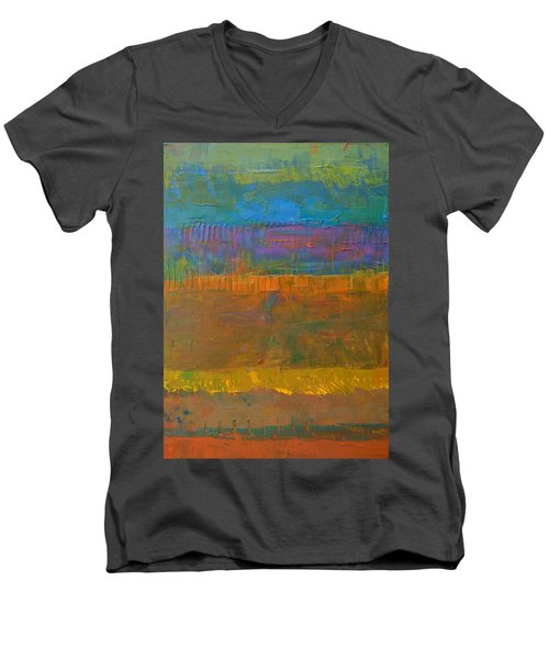Men's V-Neck T-Shirt featuring the painting Color Collage One by Michelle Calkins