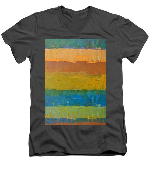 Men's V-Neck T-Shirt featuring the painting Color Collage Three by Michelle Calkins