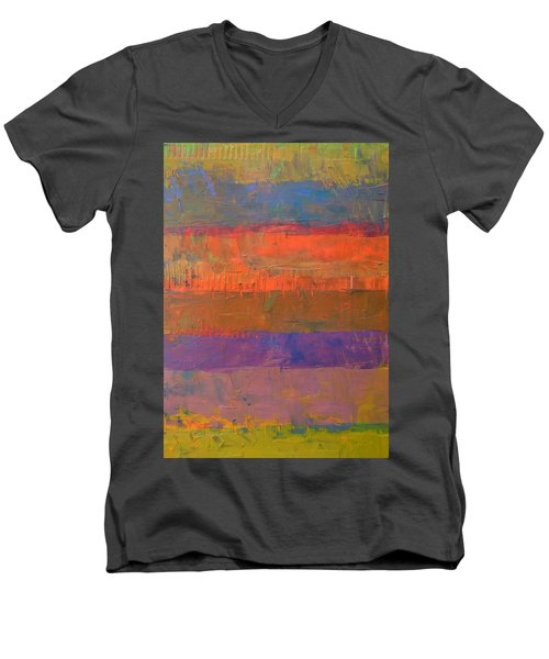 Men's V-Neck T-Shirt featuring the painting Color Collage Two by Michelle Calkins