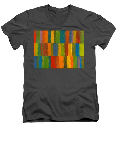 Color Collage With Stripes Men's V-Neck T-Shirt by Michelle Calkins
